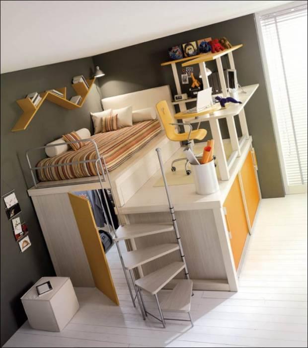 12 интересных решений проблемы рационального использования пространства в детской комнате.
