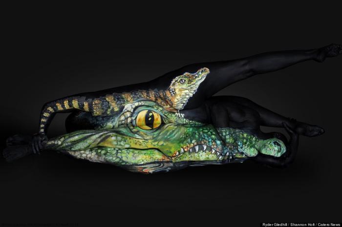 Бодипейнтер превращает людей в портреты животных (9 фото)
