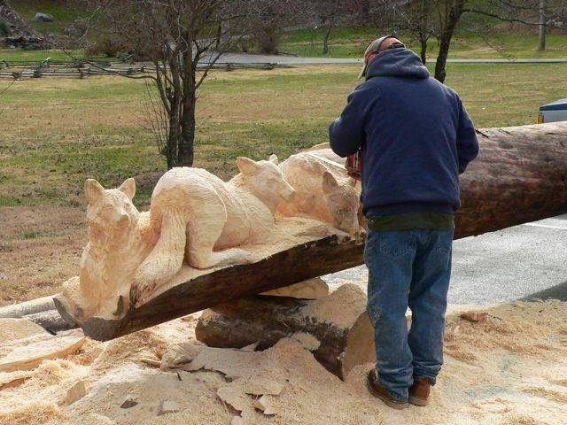 Как сделать скульптуры из бревна