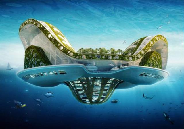 Несколько грандиозных плавучих городов будущего (5 фото)