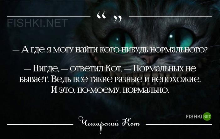 Высказывания чеширского кота из алисы в стране чудес
