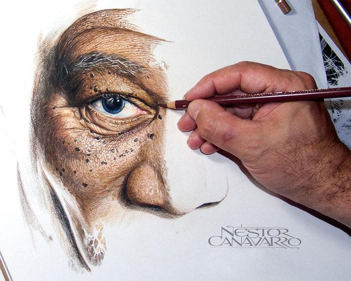Удивительно реалистичный портрет Моргана Фримена (5 фото)
