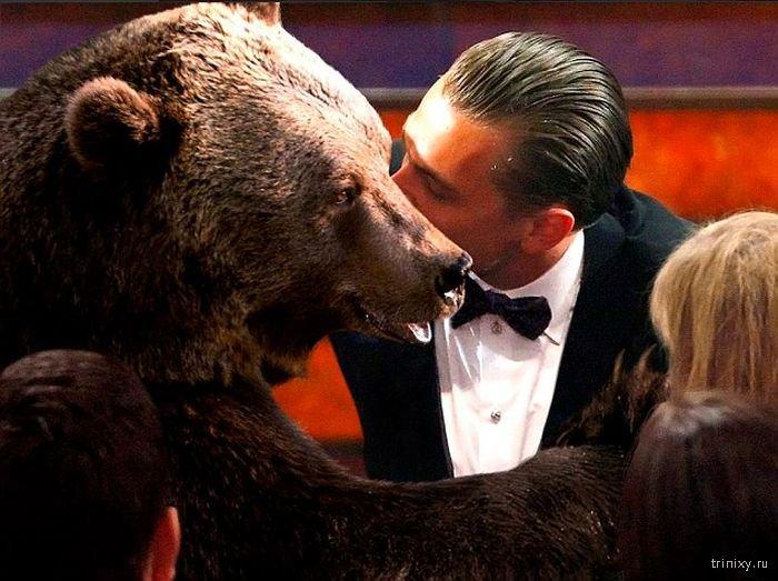 как снимали сцену с медведем в кинофильме выживший