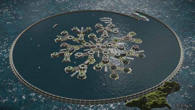 Проект первого в мире города на воде в Тихом океане (8 фото)