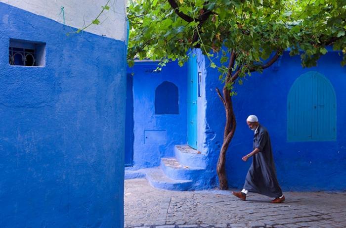 Синий, синий город в северной части Марокко