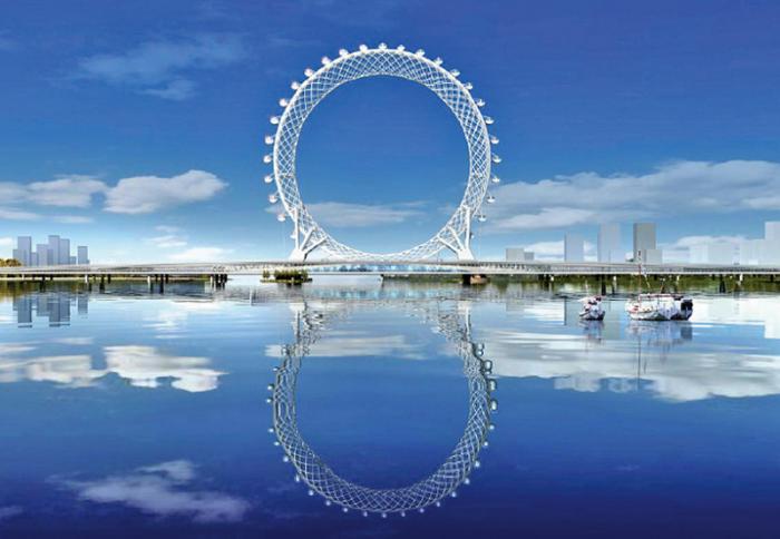 В Китае появилось безосевое колесо обозрения (8 фото)